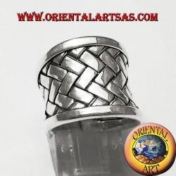 ring band Karen weave silver plate