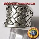 anello fascia Karen intreccio piatto in argento