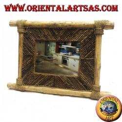 Cornice portafoto verticale in legno di caffé e decorazioni a bastoncini di corteccia da 35 x 33 cm