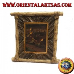 Vertical photo frame in coffee wood and decorations in 35 x 33 cm bark sticks
