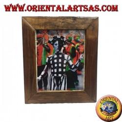 Cornice portafoto in legno di teak antico da 36 x 30 cm