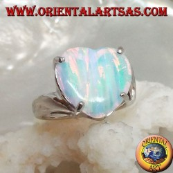Silver ring with heart-shaped streaked white opal set in four and asymmetrical setting