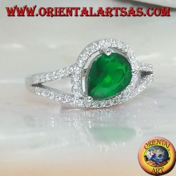 Silver ring with synthetic cross drop emerald set surrounded by zircons