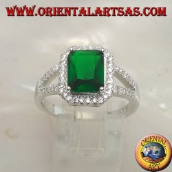 Silver ring with rectangular synthetic emerald set surrounded by zircons and two lateral lines