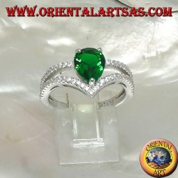 Silver ring with synthetic drop emerald set and two zircon-tipped lines