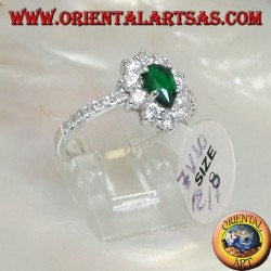 Silver ring with synthetic drop emerald set surrounded by zircons