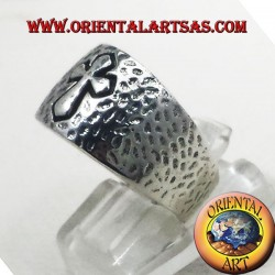 hammered band with silver cross
