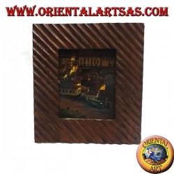 Cornice portafoto a linee oblique incise in legno di pino da 30 x 26 cm