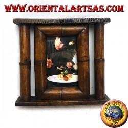 Cornice portafoto in legno di teak e bambù con canna laterale da 25x23 cm