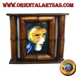 Photo frame in teak and bamboo with side cane of 29x25 cm