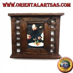 Cornice portafoto in legno di teak antico con quadretti laterali da 28x24 cm