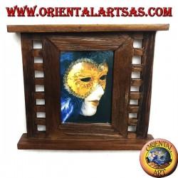 Cadre photo en bois de teck antique avec carrés latéraux de 31x27 cm