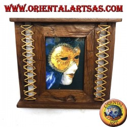 Cornice portafoto in legno di teak antico con midollino intrecciato sui lati da 31x27 cm