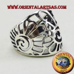 anillo de banda de concha de plata Nautilus
