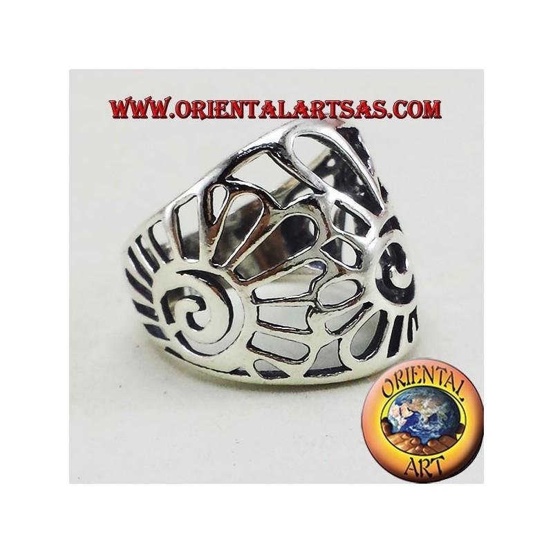ring band shell nautilus silver
