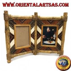 Cornice portafoto doppia in legno di caffé con decorazioni in corteccia e elementi naturali da 33 x 42 cm