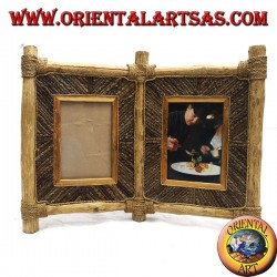 Double photo frame in coffee wood and decorations in bark sticks 33 x 42 cm