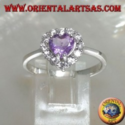 Silver ring with natural heart amethyst set surrounded by zircons
