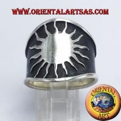 anneau grand soleil bande d'argent