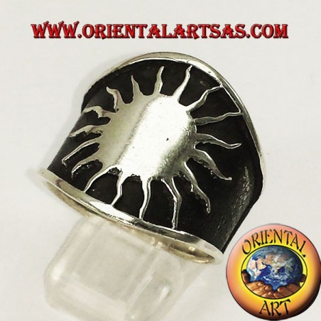 ring large sun silver band