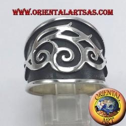 anello fascia tribale in argento