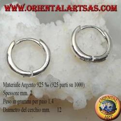 Simple hoop silver earring and 2 x 12 mm snap closure