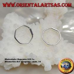 Silver wire earrings in the shape of a 10 mm hexagon