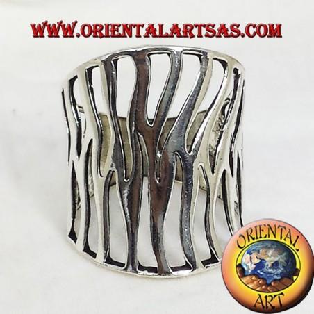 anello fascia intaglio fiamma in argento
