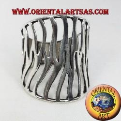 anneau de bande d'argent flamme sculptée