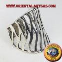 Anello fascia intagliata fiamma in argento
