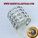 perforated band network checkered silver