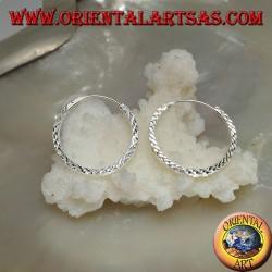 Orecchini in argento a cerchio semplice diamantato a sezione quadrata da 20 mm