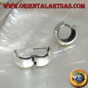 Rounded simple hoop silver earring with two lines and 10 x 14 mm snap closure