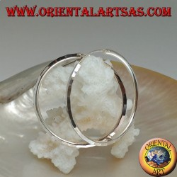 Orecchini in argento a cerchio semplice diamantato 35 x 2 mm