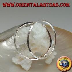Simple diamond hoop silver earrings 35 x 2 mm
