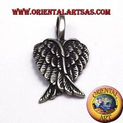 ciondolo coppia di ali d'angelo in argento