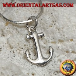 Small beveled anchor shaped silver pendant