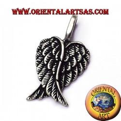 colgante par de alas de ángel de plata