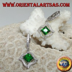 Silver earrings with rhombic square synthetic emerald and 4 wavy lines of cubic zirconia around