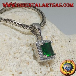 Silver pendant with square synthetic emerald surrounded by zircons