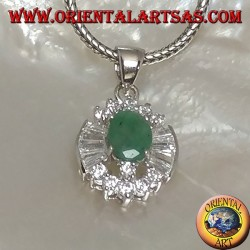 Silver pendant with oval natural emerald set surrounded by round and trapezoid zircons