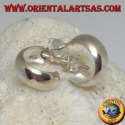 Orecchini in argento a cerchio semplice bombato con chiusura a farfalla da 5 x 12 mm