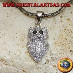Ciondolo in argento a forma di gufo tempestato di zirconi bianchi e occhi di zircone nero