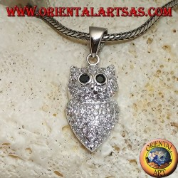 Silver pendant in the shape of an owl studded with white zircons and black zircon eyes