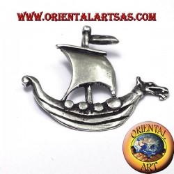 Pendentif Viking navire voile argent