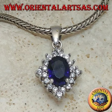Rhomboid silver pendant with oval synthetic sapphire set surrounded by round zircons