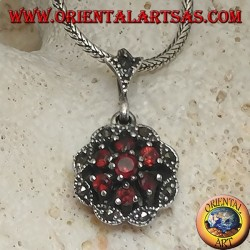 Silver pendant, natural round garnet flower surrounded by a marcasite per petal