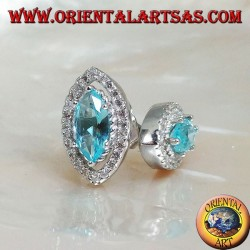 Lobe shuttle silver earrings with natural blue topaz set surrounded by zircons