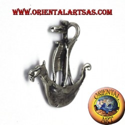 pendant Viking ship sailing silver