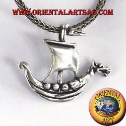 colgante de plata de Viking barco de vela